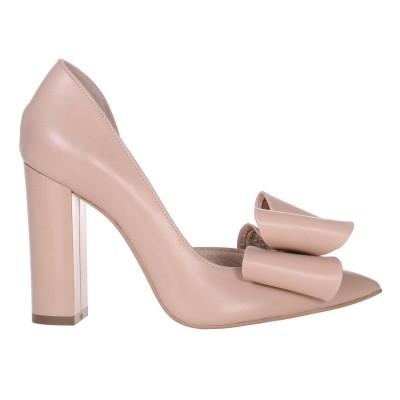 Pantofi Stiletto Dama din Piele Naturala Crem - Cod S565