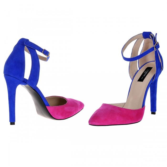 Pantofi Stiletto Decupati Piele Naturala Roz - Albastru - Cod S376