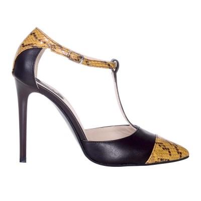 Pantofi Stiletto Decupati Piele Naturala Maro si Imprimeu - Cod S566