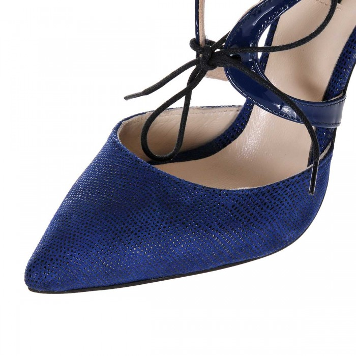 Pantofi Stiletto din Piele Bleumarin- Cod S380