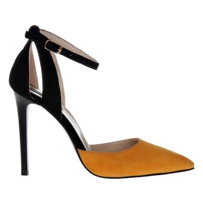 Pantofi Stiletto Decupati Piele Naturala Neagra - Mango - Cod S386