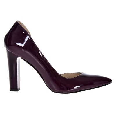 Pantofi Dama Stiletto din Piele Naturala Lacuita Mov - Cod S389