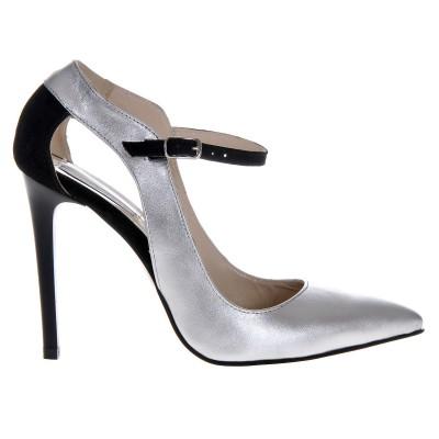 Pantofi Stiletto din Piele Naturala Argintie- Cod S396