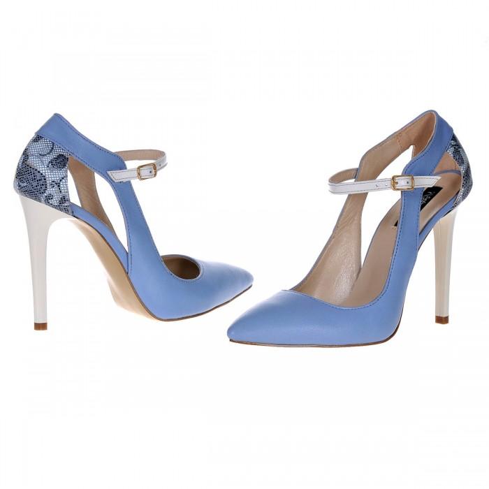 Pantofi Stiletto din Piele Naturala Bleu Serenity- Cod S379