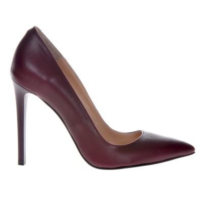 Pantofi Stiletto din Piele Naturala Bordo- Cod S402