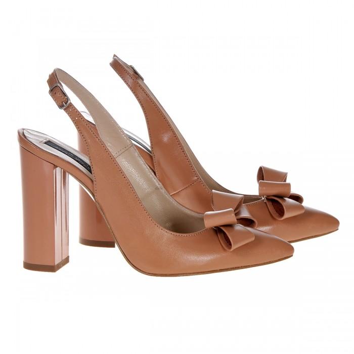 Pantofi Stiletto din piele Naturala Cappuccino - Cod S383