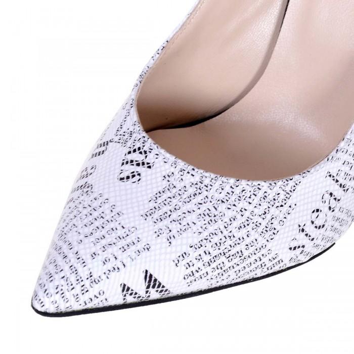 Pantofi cu Toc Stiletto Piele Naturala Model Ziar - Cod S135