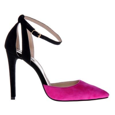 Pantofi Stiletto Decupati Piele Naturala Neagra - Roz Fuchsia - Cod S403