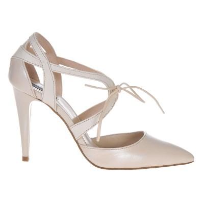 Pantofi Stiletto din Piele Naturala Ivory- Cod S381