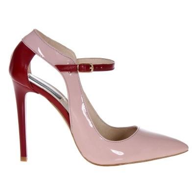 Pantofi Stiletto din Piele Naturala Lacuita Nude-Roze - Rosu- Cod S378