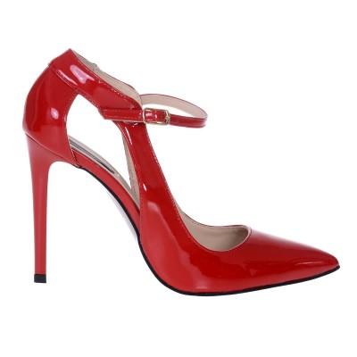 Pantofi Stiletto din Piele Naturala Lacuita Rosie - S548