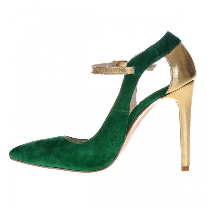 Pantofi Stiletto din Piele Naturala Intoarsa Verde- Cod S397