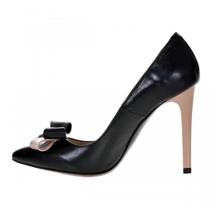 Pantofi Stiletto din Piele Naturala Neagra- Cod S374