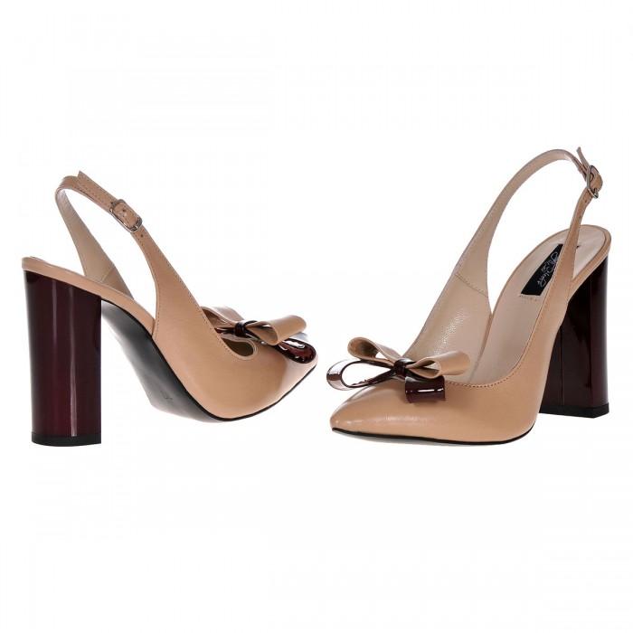 Pantofi Stiletto din piele Cafea cu Lapte - Grena Marsala - Cod S382