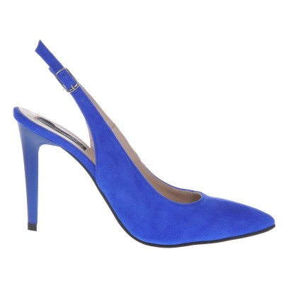 Pantofi Stiletto Decupati din Piele Intoarsa Albastra - Cod S485