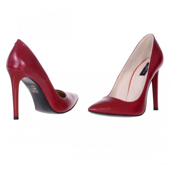 Pantofi Stiletto Piele Naturala Rosu Inchis - Cod S569