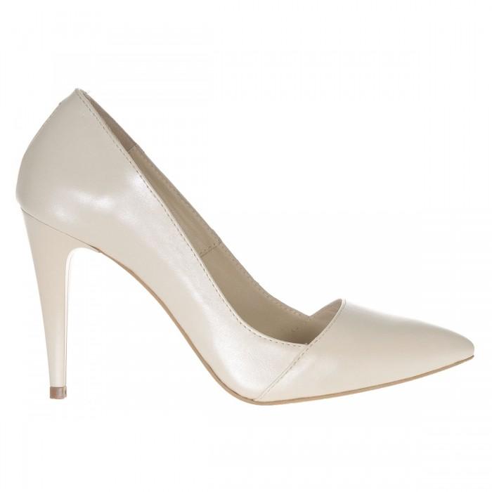 Pantofi Stiletto din Piele Naturala Ivory- Cod S357