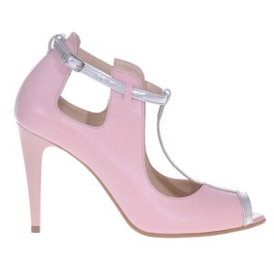 Pantofi Dama din Piele Naturala Roz Pal - Argintiu - Cod S472