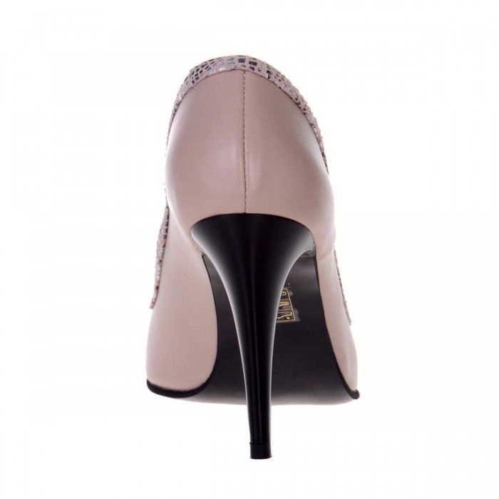 Pantofi Decupati din Piele Naturala Nude Inchis si Imprimeu - Cod S526