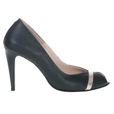 Pantofi Decupati de Dama din Piele Naturala Verde - Cod S507