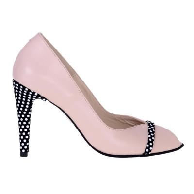 Pantofi Decupati din Piele Naturala Nude-Roze si Imprimeu - Cod S539