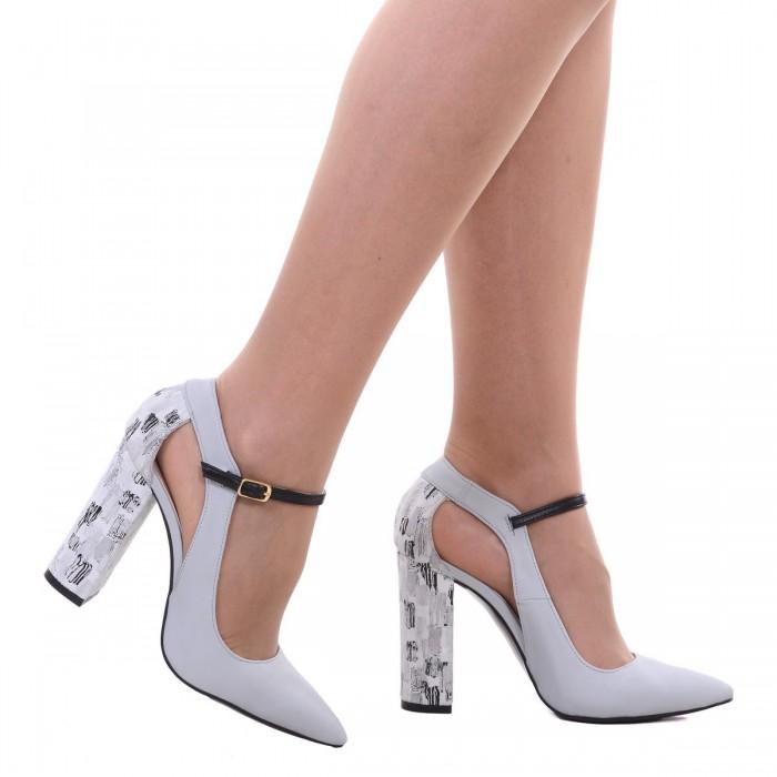 Pantofi Stiletto din Piele Naturala Gri si Imprimeu- Cod S521