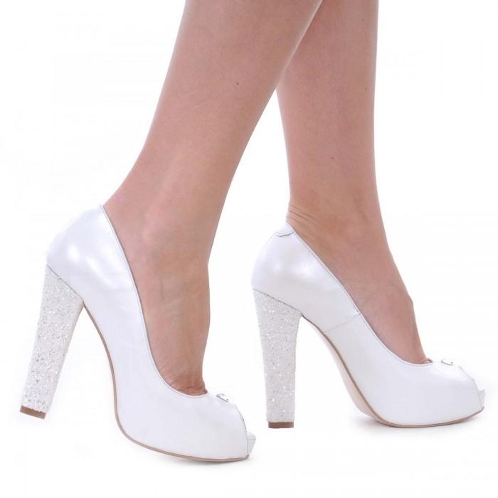 Pantofi cu platforma Piele Naturala Alb Sidef- Cod S425