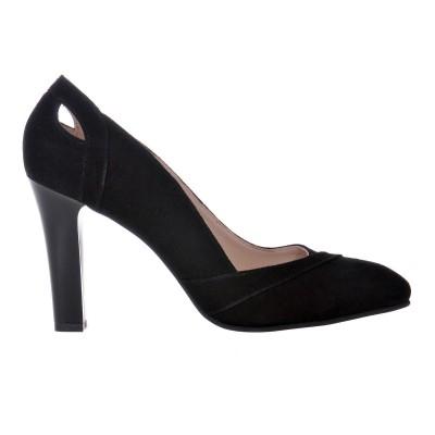 Pantofi dama din Piele Naturala Intoarsa Neagra- Cod S471