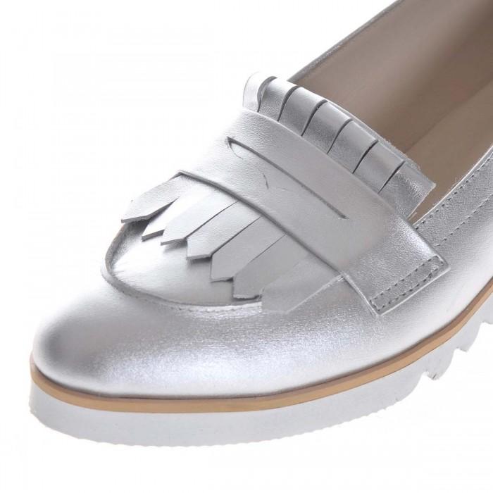 Pantofi Dama Loafers din Piele Naturala Argintie- Cod S395