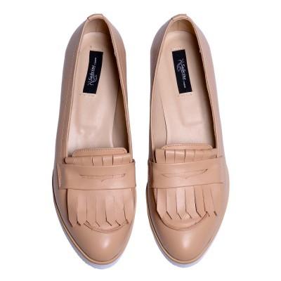 Pantofi Dama Loafers din Piele Naturala Crem- Cod S393