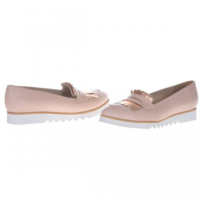 Pantofi Dama Loafers din Piele Naturala Nude- Cod S394