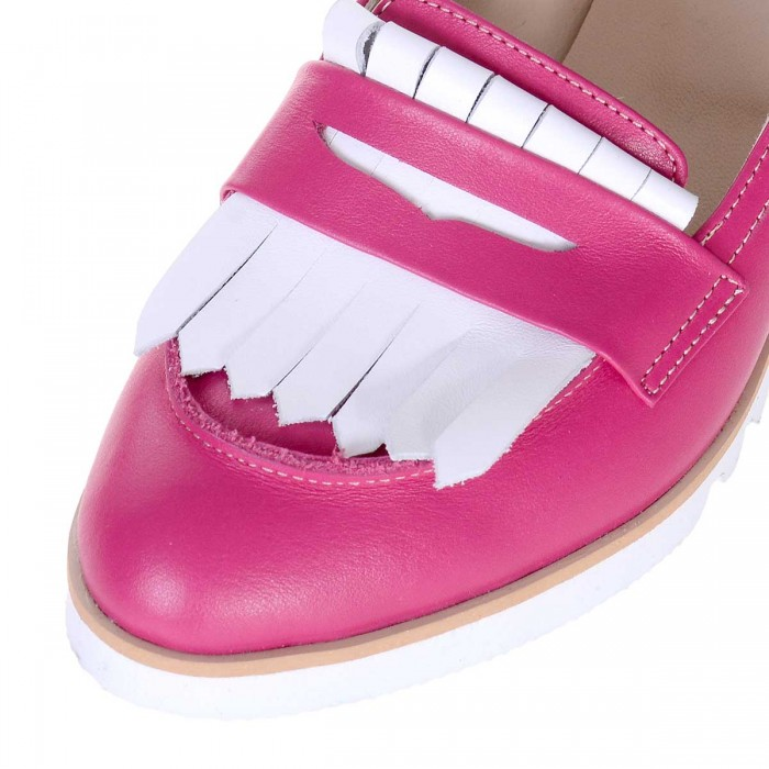 Pantofi Dama Loafers din Piele Naturala Alba si Roz Fuchsia- Cod S516