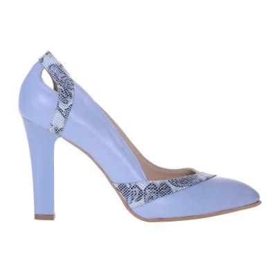 Pantofi dama din Piele Naturala Bleu si Imprimeu - Cod S558