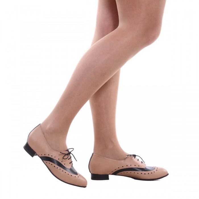 Pantofi Oxford Piele Naturala Neagra si Cappuccino- Cod S522