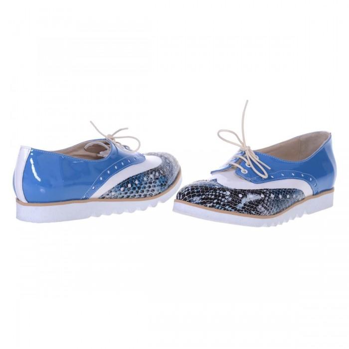 Pantofi Oxford Piele Naturala Bleu - Alb - Imprimeu - Cod S523