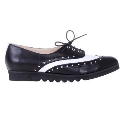 Pantofi Oxford Piele Naturala Alba si Neagra - Cod S524