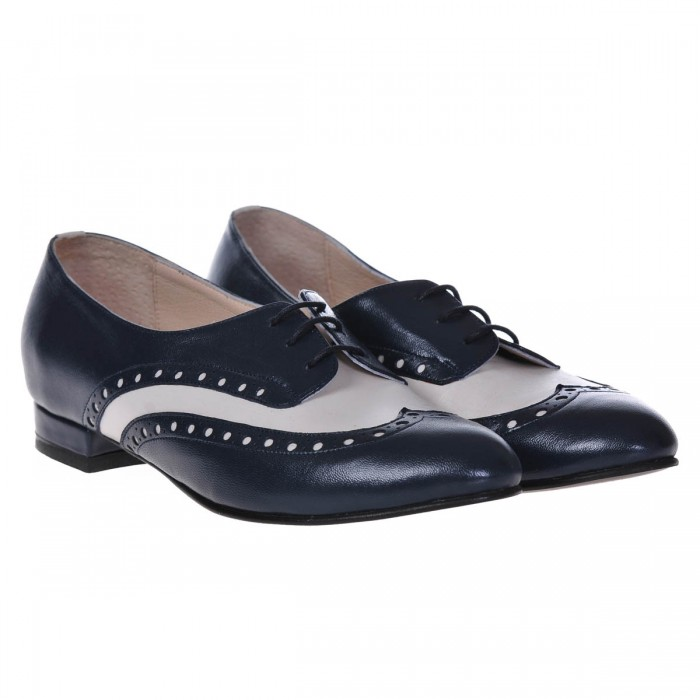 Pantofi Oxford Piele Naturala Bleumarin-Gri Deschis - Cod S252