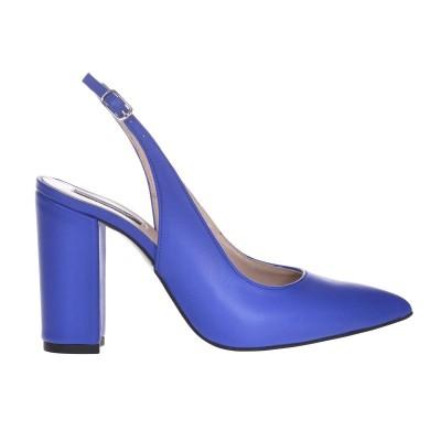 Pantofi Stiletto Piele Naturala Albastru Royal - Cod S641