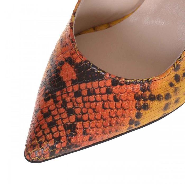 Pantofi Stiletto Piele Naturala Imprimeu Galben - Cod S636
