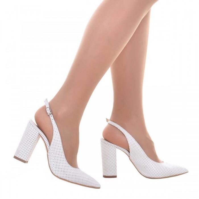 Pantofi Stiletto Piele Naturala Perforata  Alba - Cod S637