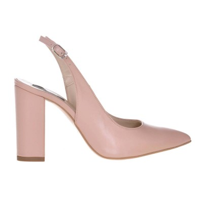 Pantofi Stiletto Piele Naturala Roz Pudra - Cod S642