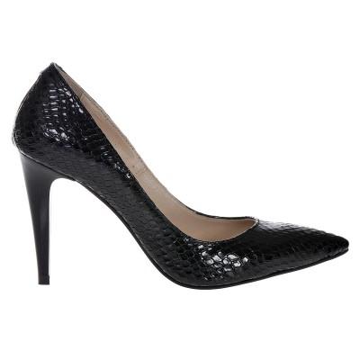 Pantofi Stiletto Negrii din Piele Naturala Imprimeu Sarpe- Cod S417
