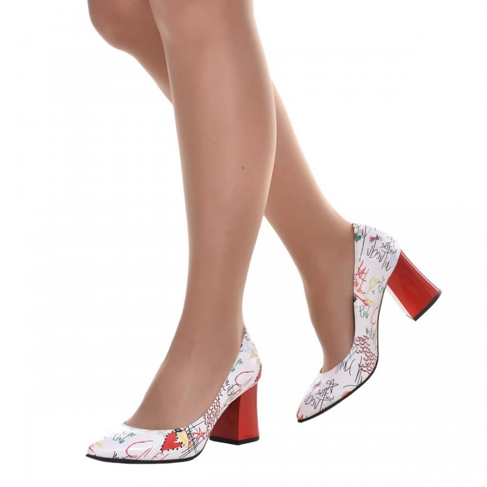 Pantofi Stiletto Piele Naturala Alba cu Imprimeu - S623