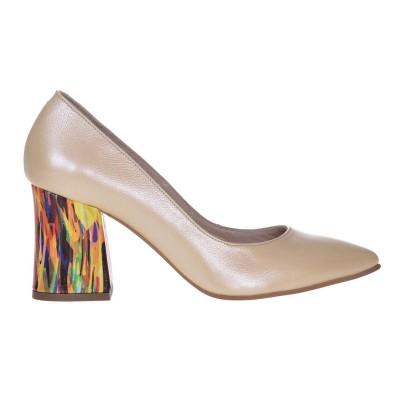 Pantofi Stiletto Piele Naturala Galben Pal cu Imprimeu - S646