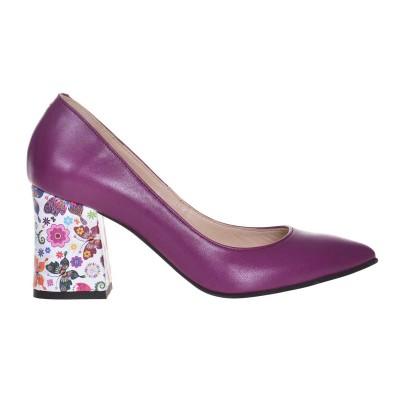 Pantofi Stiletto Piele Naturala Mov si Imprimeu - S611