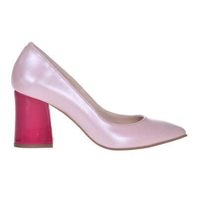 Pantofi Stiletto Piele Naturala Roz Sidefat si Fuchsia - Cod S647