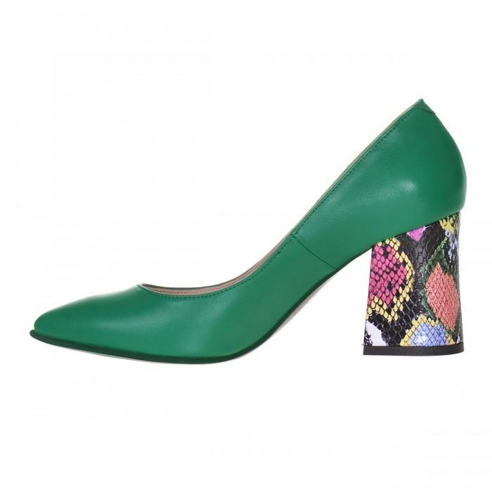 Pantofi Stiletto Piele Naturala Verde si Imprimeu - S624