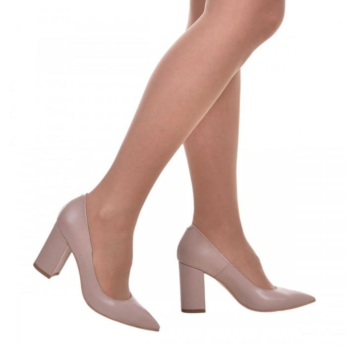 Pantofi Stiletto din Piele Naturala Bej Inchis - Cod S606