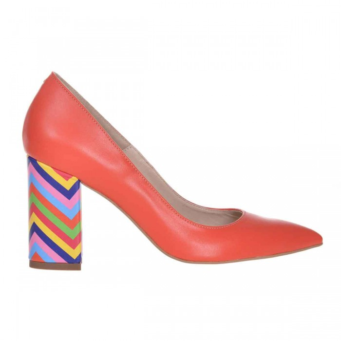 Pantofi Stiletto din Piele Naturala Portocalie si Imprimeu - Cod S605