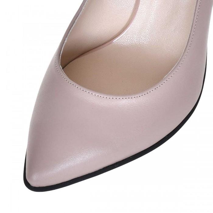 Pantofi Stiletto Piele Naturala Bej Inchis - Cod S645